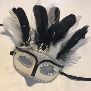 Silver and black Feather and sequin mask